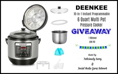 DEENKEE 10-in-1 Instant Programmable 6 Quart Multi Pot Pressure Cooker Giveaway